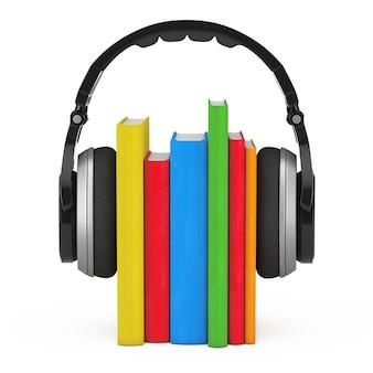 Hörbuch-konzept. schwarze drahtlose kopfhörer mit büchern auf einem weißen hintergrund. 3d-rendering