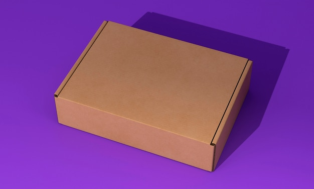 Hohe ansicht braune box auf violettem hintergrund
