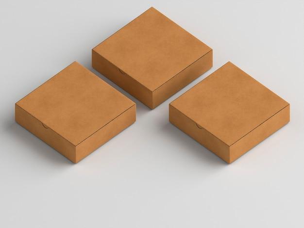 Hohe ansicht der pizzaschachteln des braunen kartons