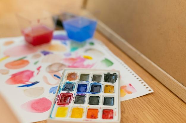 Hohe ansicht farbpalette und abstrakte farbe