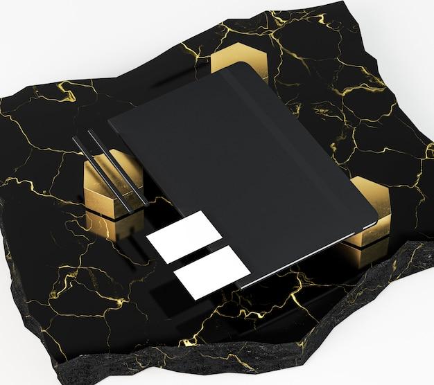 Hohe ansicht visitenkarten und schwarzer notizblock