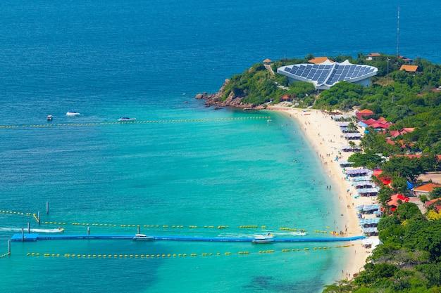Hohe ansicht von meer und von strand, nuan-strand, koh lan-insel, pattaya thailand