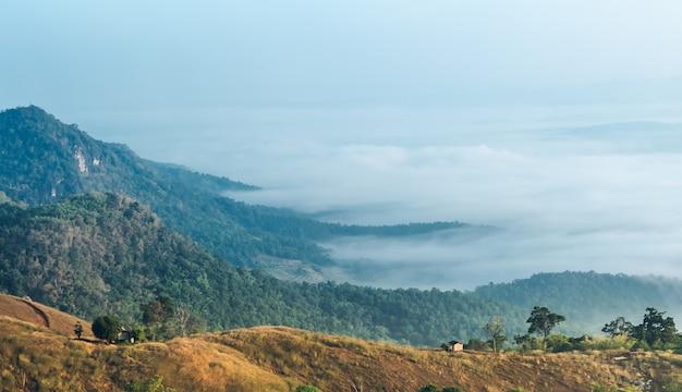 Hohe berge sind morgens mit weißem nebel bedeckt