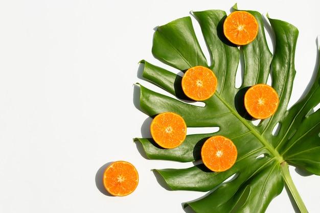 Hoher vitamin c, saftig und süß. frische orangenfrucht mit monstera-pflanzenblatt auf weiß