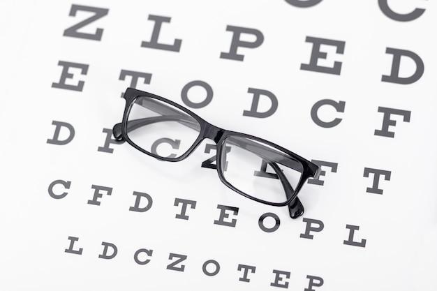 Hoher winkel der brille mit buchstaben