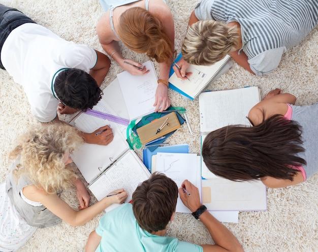 Hoher winkel von den jugendlichen, die zusammen studieren