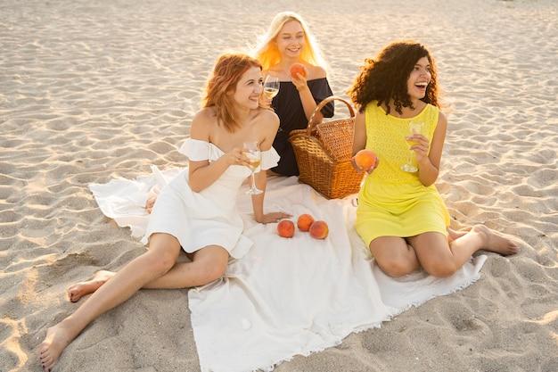 Hoher winkel von mädchen, die ein picknick am strand haben
