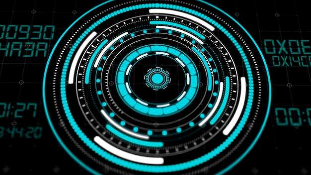 Hologramm-hud-kreisschnittstellen, futuristische hi-tech-tastenanzeige