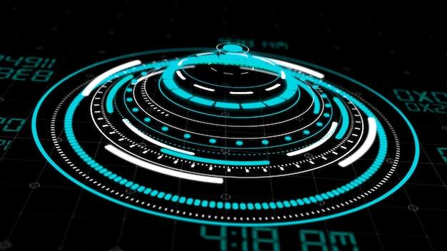 Hologramm-hud-kreisschnittstellen oder futuristische hi-tech-tastenanzeige