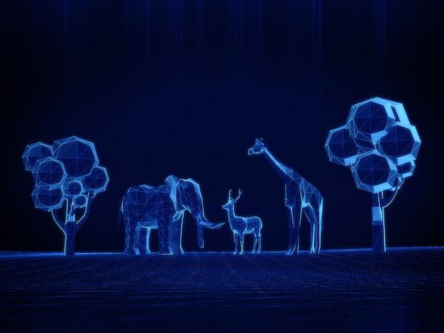 Hologramm-modus des niedrigen polygons des 3d-modells elefanten, hirsche, giraffen auf dunklem raum.