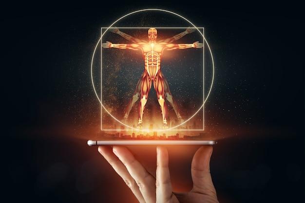 Hologramm vitruvian mann, die struktur der menschlichen muskeln, biologie der muskulatur. konzept der menschlichen anotomie.