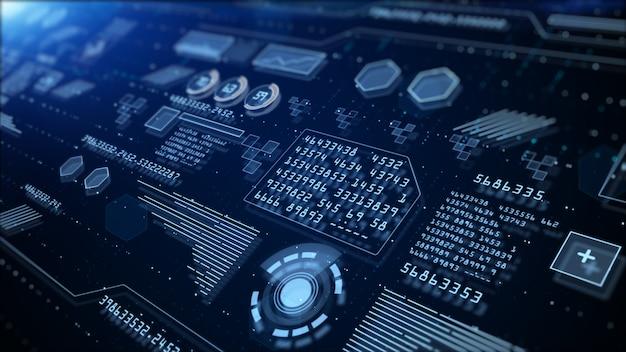 Holographische informationen der digitalen hi-tech-anzeige, digitaler cyberspace, digitale datenverbindung der technologie, zukünftiges hintergrundkonzept.