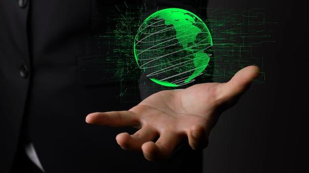 Holographische technologie der menschlichen hand, die erdkugel hält