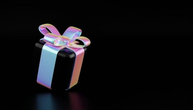 Holographische weihnachtsgeschenkbox. kreatives rabattkonzept, festliches werbegeschenk, weihnachtsverkaufsillustration, fallende holografische geschenkboxen 3d-rendering-illustration. minimales geschenk-geschenkbanner