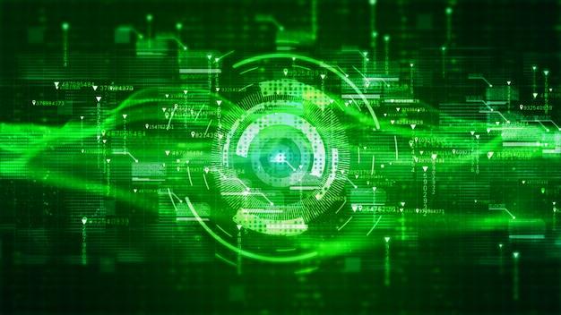 Holographischer hintergrund der hi-tech-hud-digitalanzeige. motion-graphics-technologiekonzept