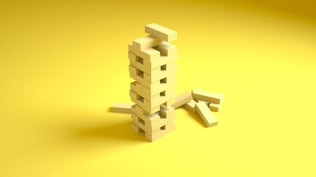 Holz blockiert spiel auf gelb. 3d-rendering.