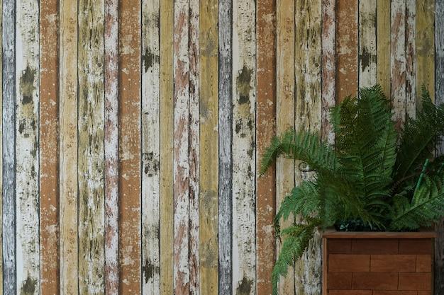 Holz mit grünpflanze für hintergrund