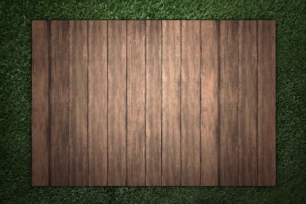 Holz mit hintergrund des grünen grases