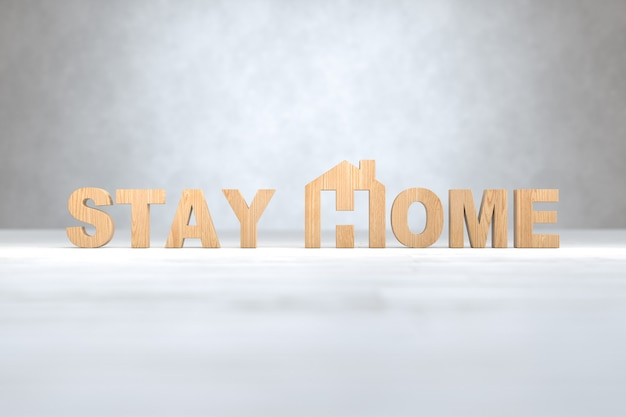 Holz stay home text, covid-19, social distancing, stay home konzept. 3d-illustration
