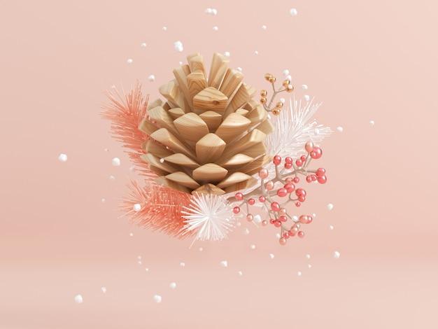 Holz tannenzapfen schneeflocke und blatt levitation abstrakte winter konzept 3d rendering