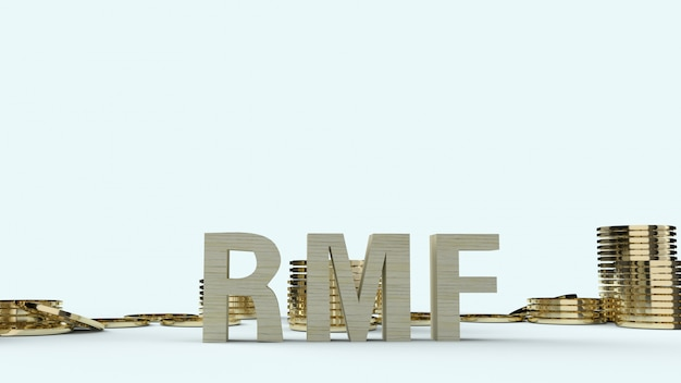 Holz text rmf und gold coons, 3d-rendering.