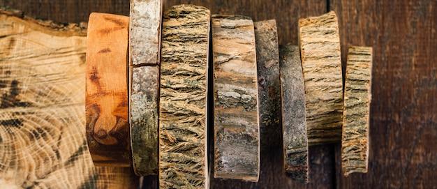 Holz verschüttet. schnitte eines baumes.