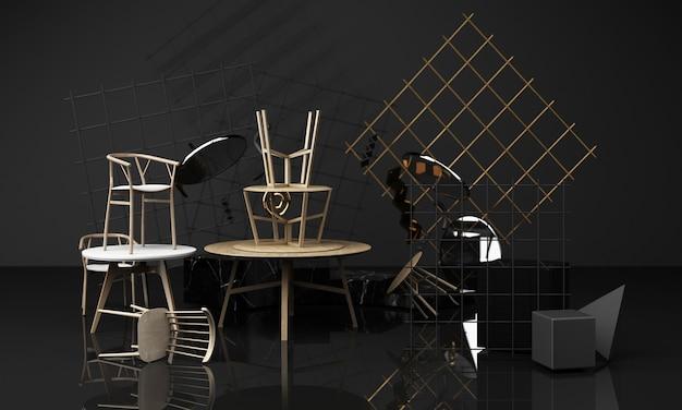 Holzbeschaffenheit der stühle und des kaffeetisches