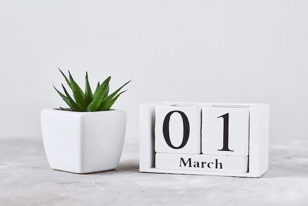 Holzblockkalender mit datum 1. märz und pflanze auf dem tisch. frühlingskonzept