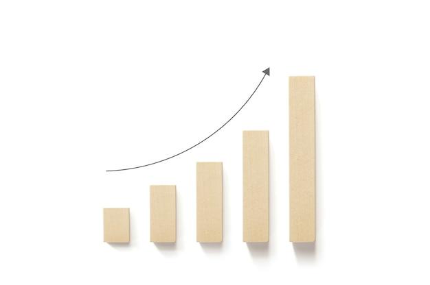 Holzblöcke erhöhen sich mit einem nach oben zeigenden pfeil und weißem hintergrund