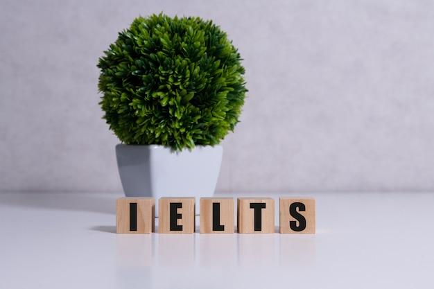Holzblöcke mit dem wort ielts - internationaler standardisierter test der englischen sprache.