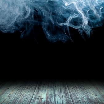 Holzboden vor dem hintergrund von rauchwolken