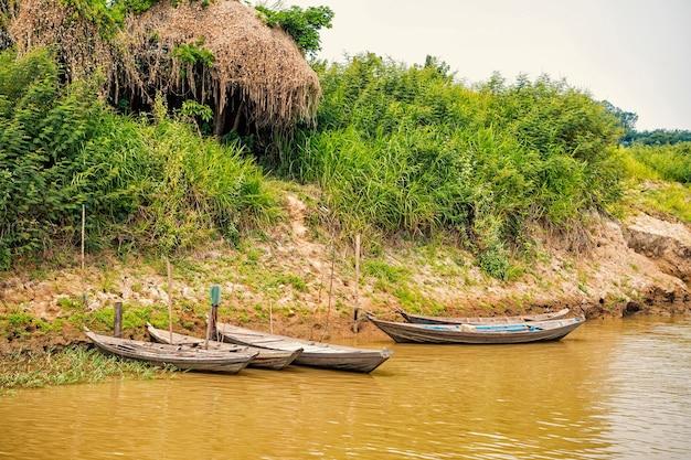 Holzboote am liegeplatz am flussufer in santarem, brasilien. grünes gras und sommerlandschaft. reisen auf dem wasserkonzept
