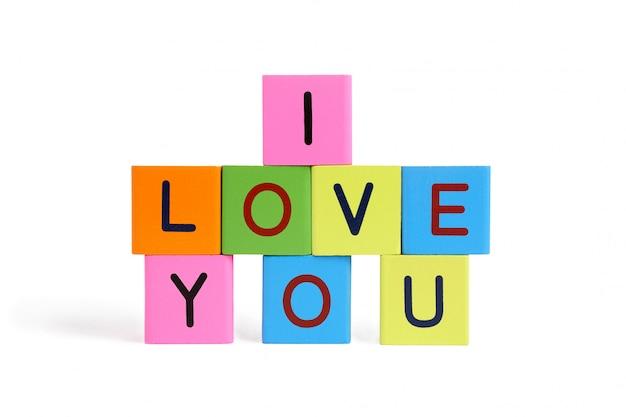 Holzbriefblöcke mit inschrift ich liebe dich