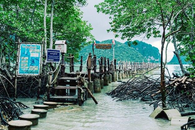 Holzbrücke bei talet bay in khanom, nakhon sri thammarat touristenreise-wahrzeichen in thailand