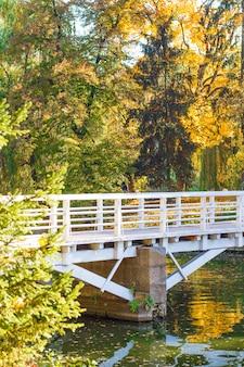 Holzbrücke über dem fluss im park
