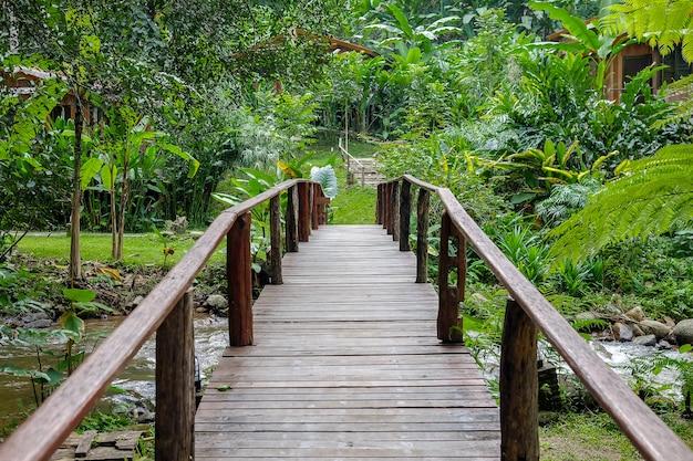 Holzbrücke über kleinen kanal im park.