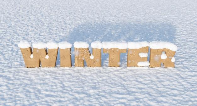 Holzbuchstaben mit dem wort winter auf verschneitem boden