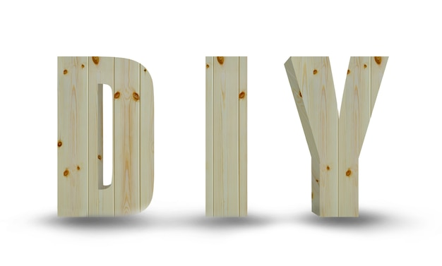 Holzbuchstaben von diy isoliert auf weißem hintergrund
