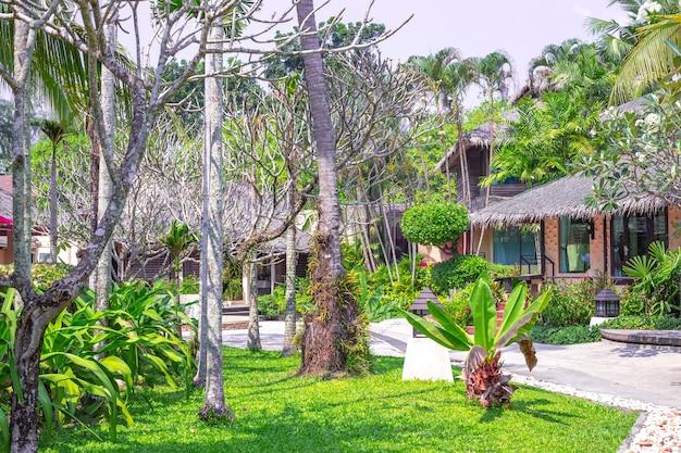 Holzbungalows im tropischen dschungel, ruhe und entspannung in asien