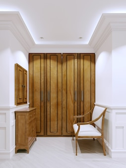 Holzcouch in der nähe der holzgarderobe im wohnungsflur. interieur im klassischen stil. 3d-rendering