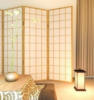 Holzdesign des japanischen trennpapiers auf tatamiboden des wohnzimmers.