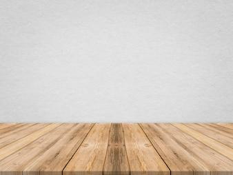 Hölzerne Tischplatte an der tropischen Papierbeschaffenheitswand, Schablonenspott oben für Anzeige des Produktes, Geschäftsdarstellung.