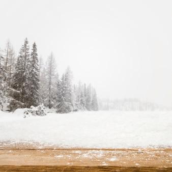 Hölzernes Brett und Feld mit Bäumen im Schnee