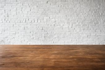 Hölzernes Ziegelstein-Boden-Wand-Struktur-strukturiertes weißes Konzept