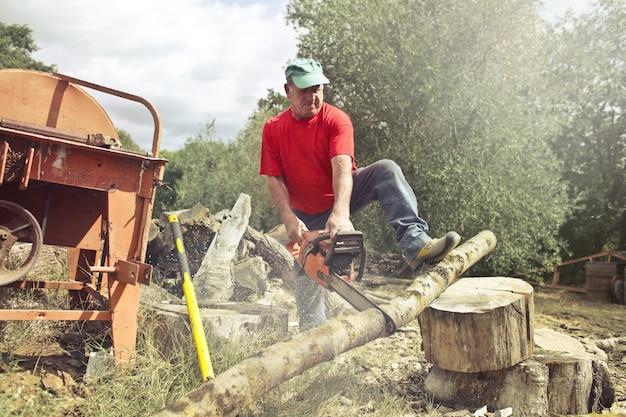 Holzfäller, der holz hackt