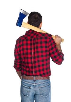 Holzfäller mit kariertem hemd von hinten