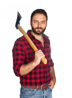 Holzfäller mit kariertem hemd