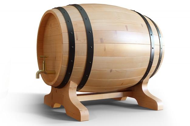Holzfässer wein der 3d-illustration lokalisiert auf weißem hintergrund. alkoholisches getränk in holzfässern wie wein, cognac, rum, brandy.