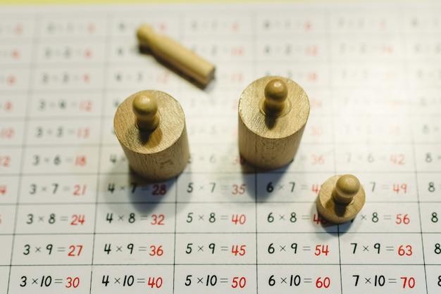 Holzgewichte montessori zur verwendung in schulen und zum unterrichten von maßen und gewichten für kinder.