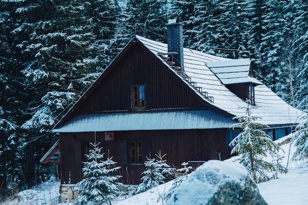 Holzhaus-ferienhaus im bergferienort im winter mit neuschnee bedeckt.